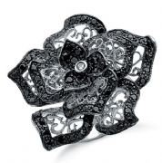 Sterling silver Black and clear cubic zirconia Statement flower ring